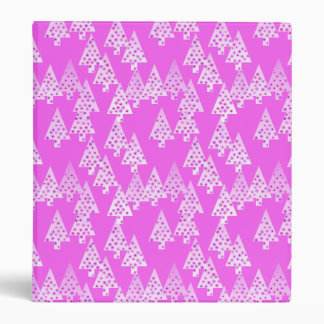 Modern flower Christmas trees - orchid pink 3 Ring Binder