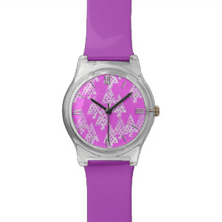 Modern flower Christmas trees - orchid pink Wristwatch
