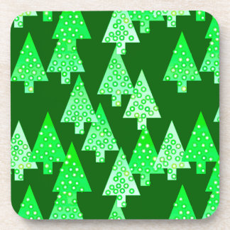 Modern flower Christmas trees - pine green Drink Coaster