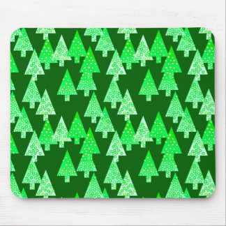 Modern flower Christmas trees - pine green Mouse Pad