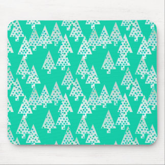 Modern flower Christmas trees - seafoam green Mouse Pad
