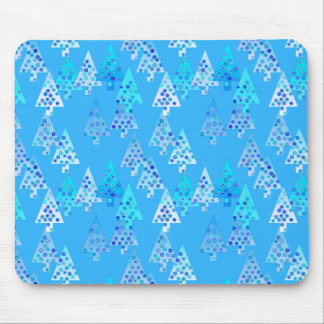 Modern flower Christmas trees - sky blue Mouse Pad