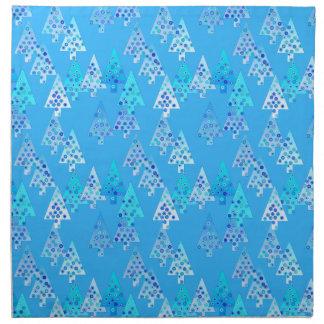 Modern flower Christmas trees - sky blue Cloth Napkins