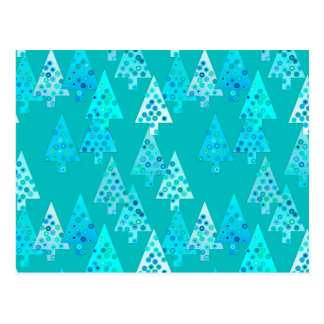 Modern flower Christmas trees - turquoise Post Cards