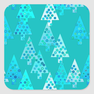 Modern flower Christmas trees - turquoise Square Sticker