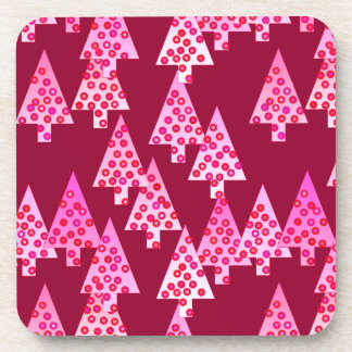Modern flower Christmas trees - wine & pink Beverage Coaster