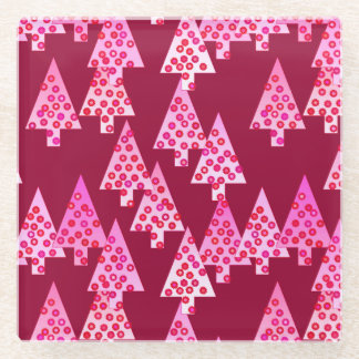 Modern flower Christmas trees - wine & pink Glass Coaster