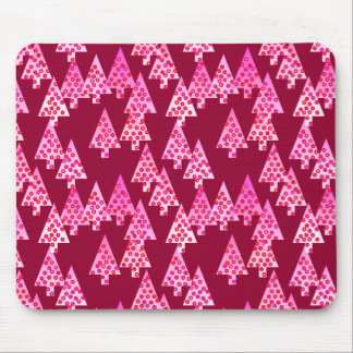 Modern flower Christmas trees - wine & pink Mouse Pad