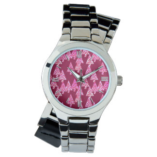 Modern flower Christmas trees - wine & pink Wristwatches