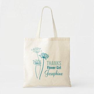 Modern flower cows parsley teal flower girl bag