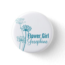 Modern flower cows parsley wedding pin / button