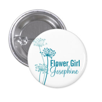 Modern flower cows parsley wedding pin button