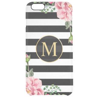 Modern Flower Decor Black White Stripes Monogram Clear iPhone 6 Plus Case
