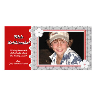 Modern Flower Holiday Photo Card -Red