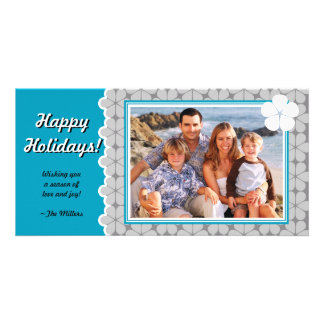 Modern Flower Holiday Photo Card -Teal