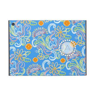 Modern Flower Pattern Floral Leaf Swirl Monogram Covers For iPad Mini