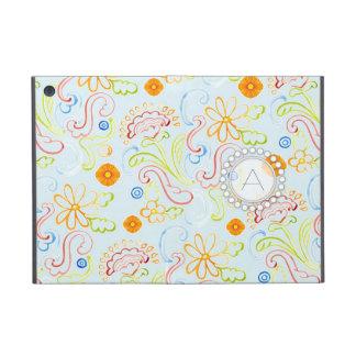 Modern Flower Pattern Floral Leaf Swirl Monogram iPad Mini Case