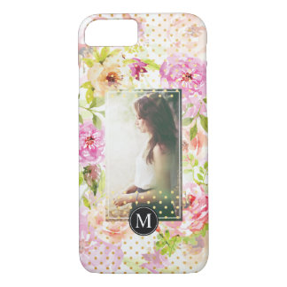 Modern Flower Pattern Personalized Photo Monogram iPhone 8/7 Case