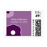 Modern Flower Purple Save the Date postage stamp