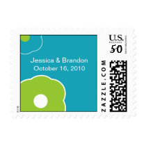 Modern Flower Save the Date postage stamp