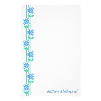 Modern Flower Vines (Blue) Stationery