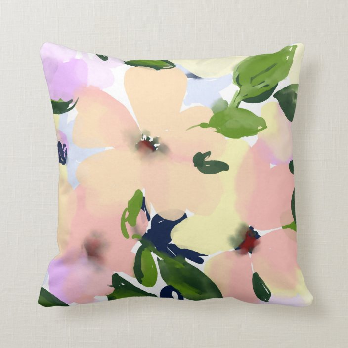 Modern Flower Watercolor Floral Illustration Throw Pillow Zazzle Com