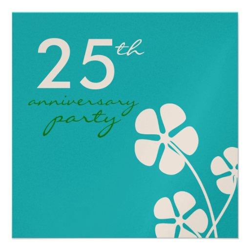 Modern Flowers 25th Wedding Anniversary Invitation Zazzle