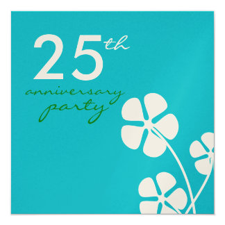 Modern Flowers 25th Wedding Anniversary Invitation