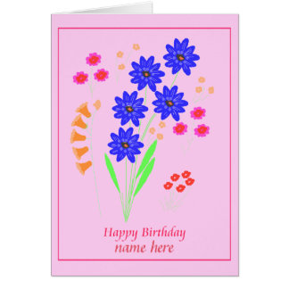 Modern Flowers Birthday card Add name front