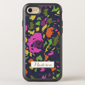 Modern Flowers Bold Colorful Trendy with Monogram OtterBox Symmetry iPhone 7 Case