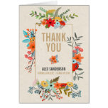 Modern Flowers & Gold Border Graduation Thank You Card