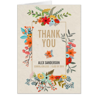Modern Flowers & Gold Border Graduation Thank You Stationery Note Card