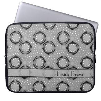 Modern Flowers Grey Polka Dots Laptop Sleeve