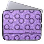 Modern Flowers Purple Polka Dots Laptop Sleeve