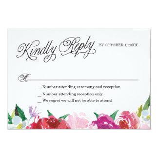 Modern Flowers RSVP Card with custom responses.