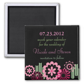 Modern Flowers Save the Date Magnet