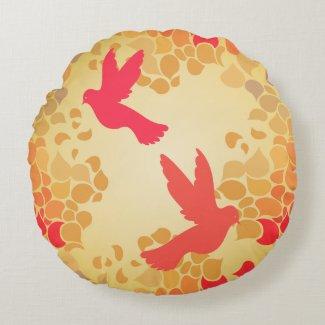 Modern flying birds on petals round pillow