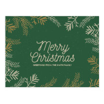 Modern Foliage on Green | Holiday Greetings Postcard