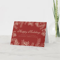 Modern Foliage on Red | Holiday Greetings