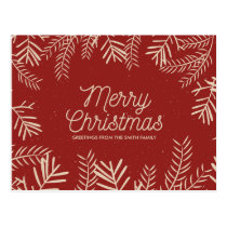 Modern Foliage on Red | Holiday Greetings Postcard