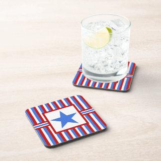 Modern Folk Art American Patriotic Coaster Set