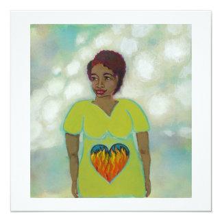 Modern folk art woman heart fire symbolic painting card