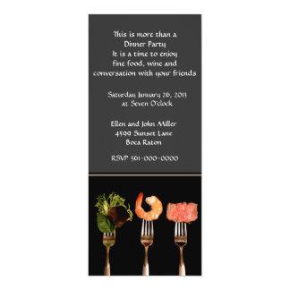 "Modern Food on Forks Dinner Invitation 4"" X 9.25"" Invitation Card"