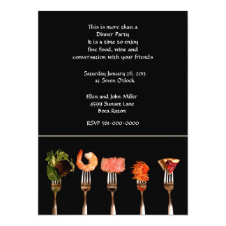 "Modern Food on Forks Dinner  Invitation 5.5"" X 7.5"" Invitation Card"