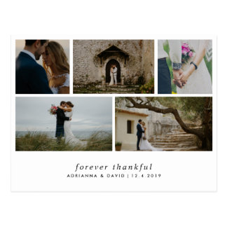 Modern Forever Thankful Simple Five Wedding Photos Postcard