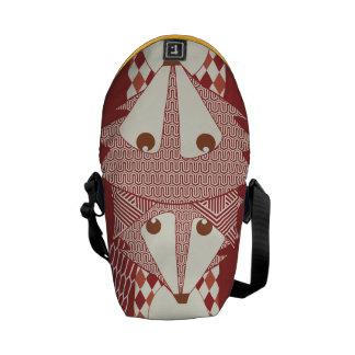 Modern Fox Red Burgundy Retro Geometric Pattern Courier Bag