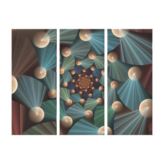 Modern Fractal Art Brown, Slate, Blue Triptych Canvas Print