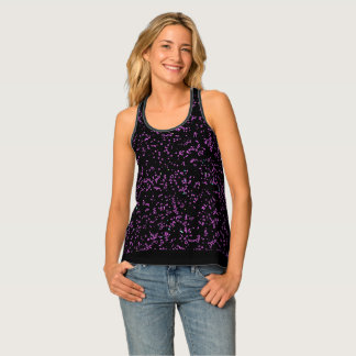 Modern Fractal Art Purple Patterns Solid Black Tank Top