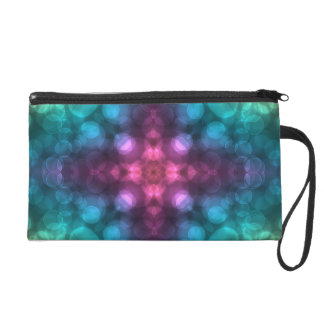 Modern Fractal Art with Cross and Bokeh Wristlet Purse