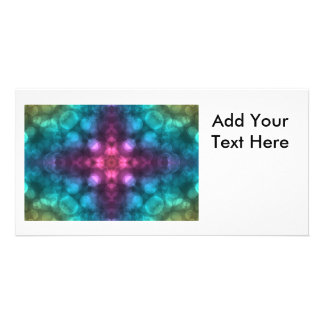 Modern Fractal Art with Cross and Bokeh Photo Cards